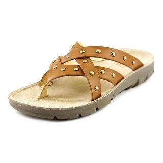 White Mountain Bailout Women Open Toe Canvas Brown Thong Sandal