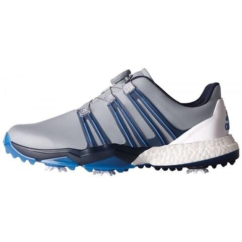 Adidas Men's Powerband BOA Boost Light Grey/Slate/B. Blue Golf ShoesQ44770/Q44774
