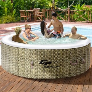 Goplus 6 Person Inflatable Hot Tub Outdoor Jets Portable Heated Bubble Massage Spa