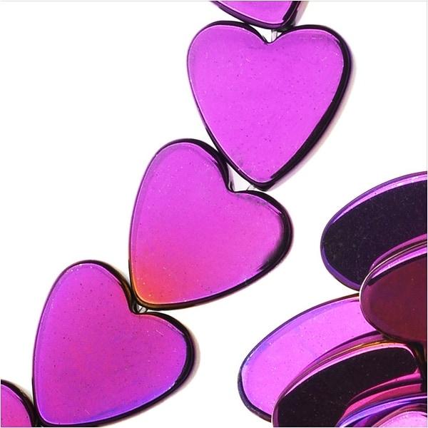 Hematite Gemstone Beads, 8mm Heart, 16 Inch Strand, Metallic Purple