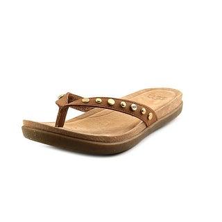 Ugg Australia Lyndi Women Open Toe Leather Tan Flip Flop Sandal