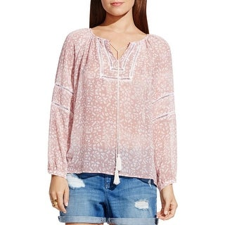 Two by Vince Camuto Womens Peasant Top Chiffon Crochet Inset