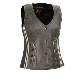 Women's Vintage Slate Snap Front Vest W/ Racing Stripes