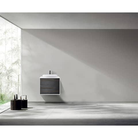 "GOREME 30"" Smoke Gray Oak Wall Mount Modern Bathroom Vanity Set"