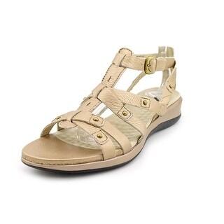Softwalk Torino Women W Open Toe Leather Gold Gladiator Sandal
