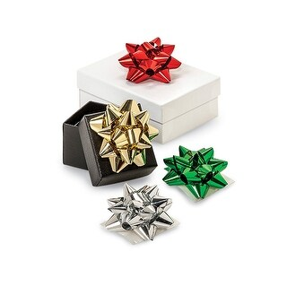 """Pack Of 16, 2"""" Mini Christmas Metallic Confetti Gift Bow Assortment Red, Emerald, Gold & Silver For Jewelry Boxes & Gift"""
