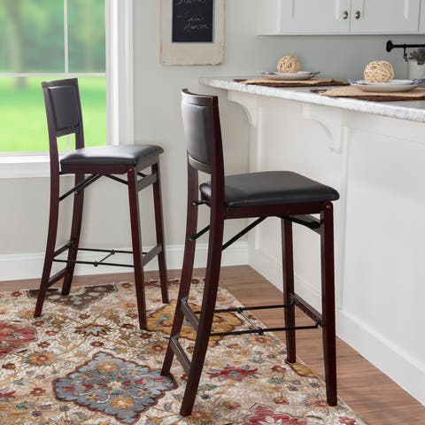 Porch & Den Aldersey Espresso Folding Bar Stool - N/A