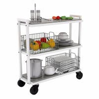 Atlantic 23350328 3 Tier Cart System Wide, White