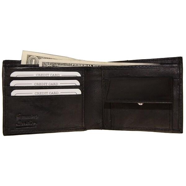 Improving Lifestyles Leather Men Bifold Wallet Black Change Pocket FREE Organza Gift Bag SUN1116BK