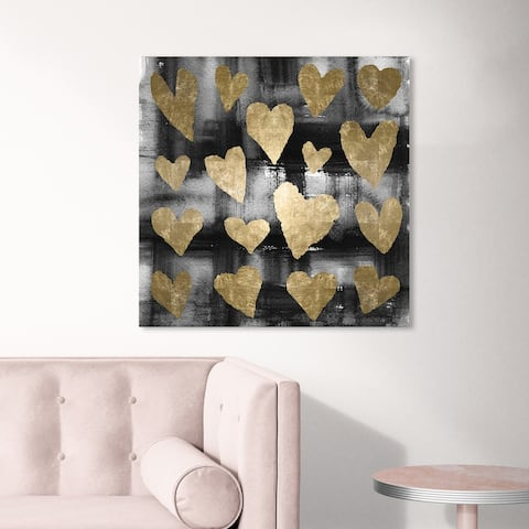 Oliver Gal 'Heart Tangle' Abstract Wall Art Canvas Print Paint - Gold, Black