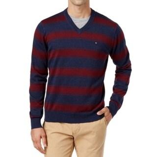 Tommy Hilfiger NEW Navy Blue Red Mens Size 3XL Striped V-Neck Sweater