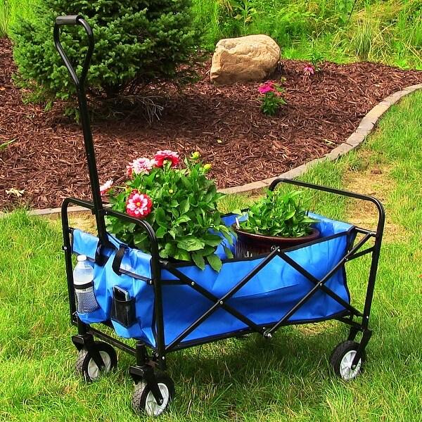 Sunnydaze Folding Utility Wagon Garden Cart, 150 Pound Weight Capacity - Multiple Colors