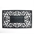 "Decorative Black ""Welcome"" Outdoor Rubber Rectangular Door Mat 29.5"" x 17.75"" - Thumbnail 0"