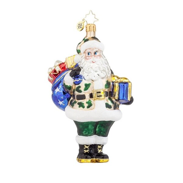 Christopher Radko Glass Salute to You Santa Christmas Ornament #1017955 - multi