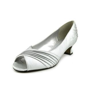 Easy Street Sensation Women W Peep-Toe Canvas Silver Heels