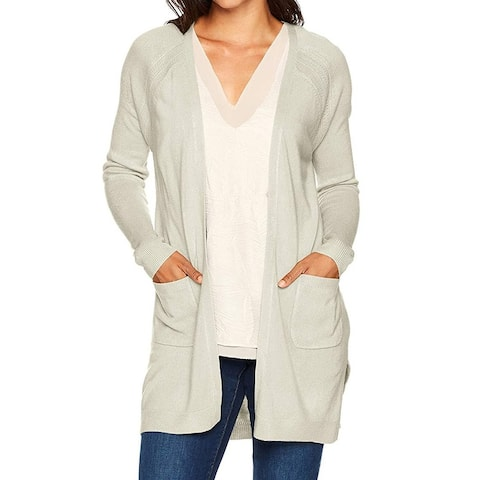 Napa Valley Womens Sweater Ivory Size XL Raglan Open-Front Knit Cardigan