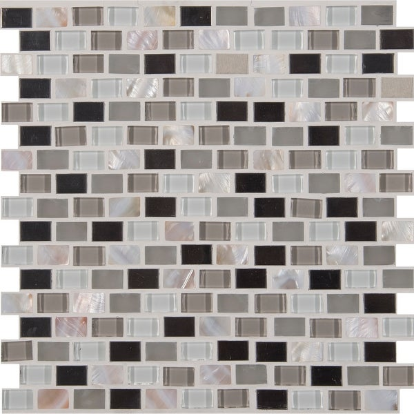 """MSI SMOT-GLSMT-8MM 1"""" x 1"""" Brick Joint Mosaic Tile - Varied Glass and Metal Visual - Sold by Carton (10 SF/Carton)"""