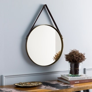 """Dufresne Modern Hanging 18-inch Round Mirror with Leather Strap - 18""""H x 18""""W"""