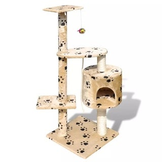 "vidaXL Cat Tree Scratching Post 45"" 1 Condo Beige with Paw Prints"