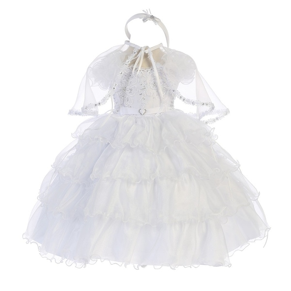 Angels Garment Baby Girls White Organza Cape Headband Baptism Dress