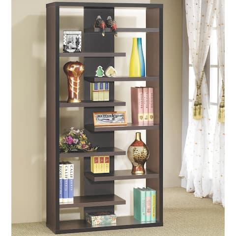 Modern Asymmetrical Weave Design Cappuccino Bookcase Display