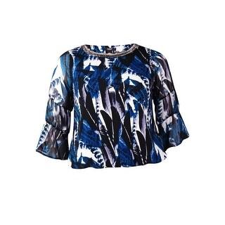 Alfani Women's Beaded Chiffon Sleeve Blouson Top (PL, Overlap Feathers) - overlap feathers - pl