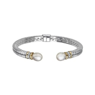 10x8 mm Freshwater Pearl Cuff Bracelet with Diamonds in Sterling Silver and 14K Gold