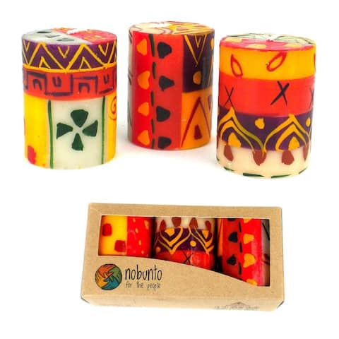 Handmade Votive Candles Indabuko Design, Set of 3 (South Africa)