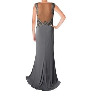 JVN by Jovani Womens Embellished Illusion Formal Dress