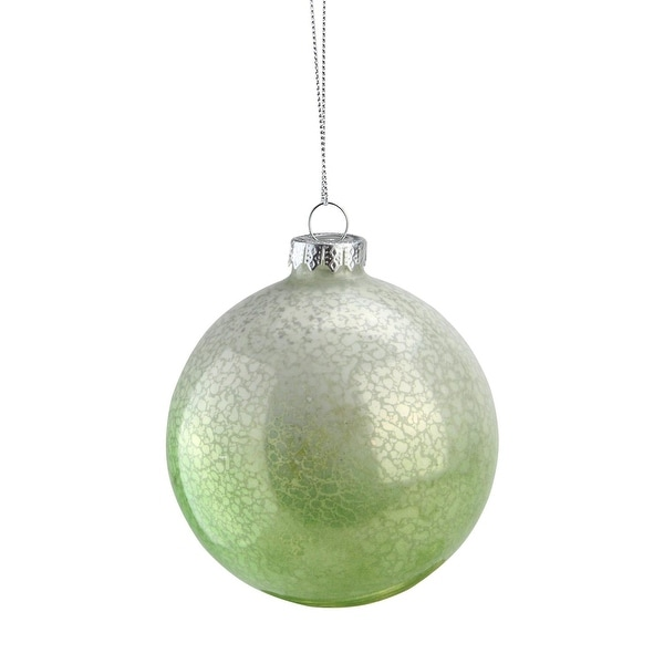"4.5"" Green and White Spotted Glass Ball Decorative Christmas Ornament"