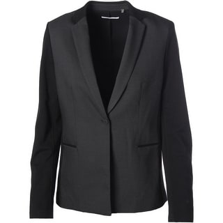 T Tahari Womens Carina Ponte Pattern One-Button Blazer