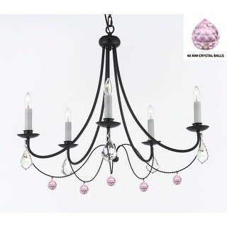 Swag Plug In- Empress Crystal (TM) Wrought Iron Chandelier Lighting With Pink Crystal Balls