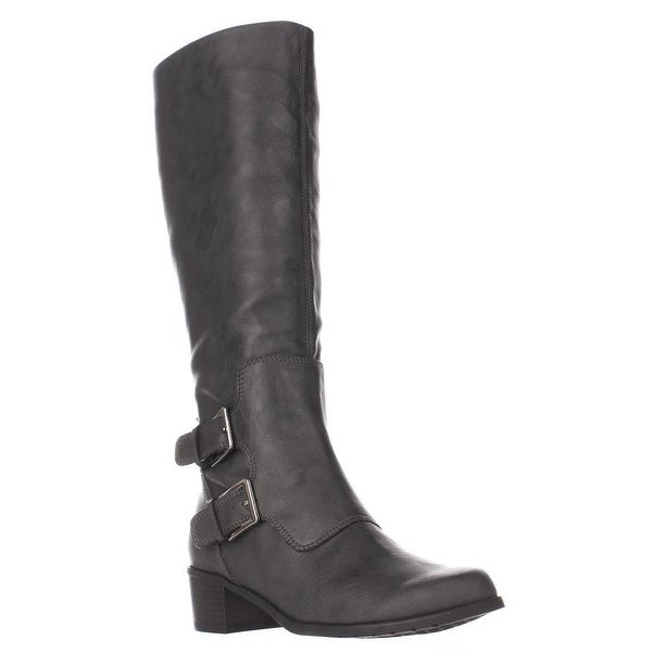 Aerosoles Ever After Double Zipper Riding Boots, Grey