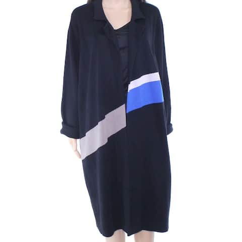 INC Womens Sweater Black Size XXL Cardigan Colorblocked Open Front