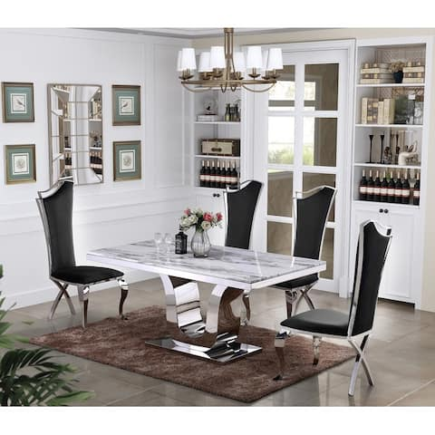 Best Quality Furniture Luxe White Genuine Marble 5pc Dining Set