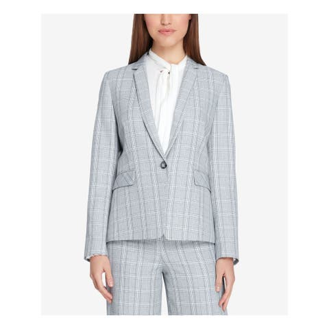TAHARI Womens Gray One Button Plaid Wear to Work Jacket Size 14