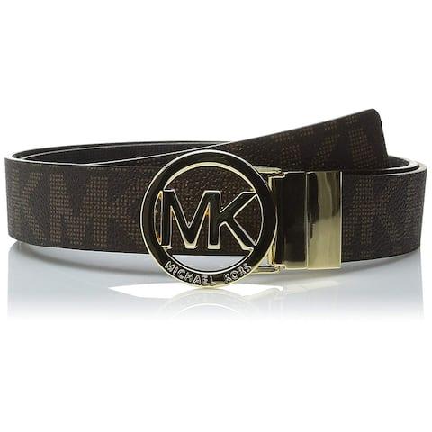 Michael Kors MK Logo Signature Monogram Twist Reversible Belt, Brown To Black 551342C