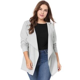 Allegra K Women's Plus Size Long Sleeve Open Front Drape Coat Hooded Cardigan - gray