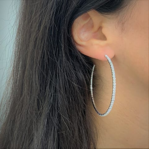 "Large Hoop Earrings Crystal Flexible Light Weight 2.25"" White Gold Silver"