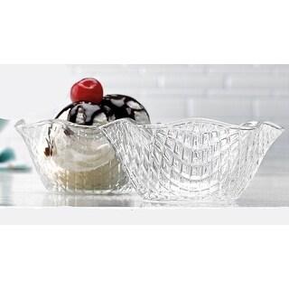 Palais Glassware Clear Glass 8 Ounce Dessert Ice Cream Bowls Set of 4 Diamond Cut