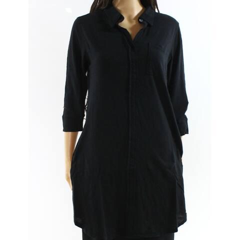 Allen Allen Black Womens Size Small S 3/4 Sleeve Knit Tunic Top