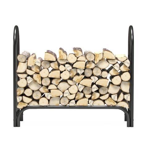 Regal Flame 4 Foot Heavy Duty Outdoor Firewood Log Rack Holder - Black