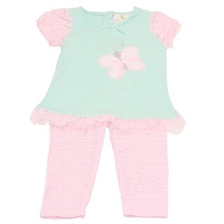 Duck Duck Goose Baby Girls Aqua Butterfly Applique 2 Pc Pant Outfit