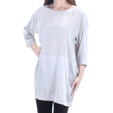 EILEEN FISHER $228 Womens New 1076 Silver Dolman Sleeve Tunic Top 2XS B+B