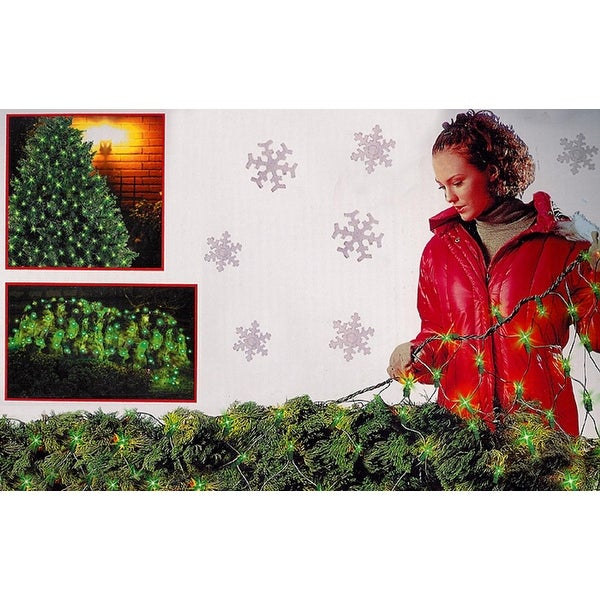 4' x 6' Green Mini Net Style Christmas Lights - Green Wire