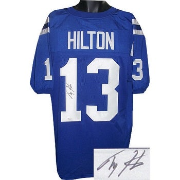 buy online 1ca68 7db04 TY Hilton signed Blue Custom Stitched Pro Style Football Jersey 13 XL  signed on 1 Leaf