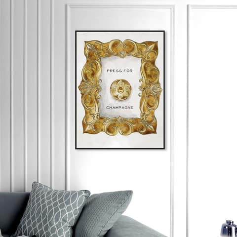 Oliver Gal 'Press For Champagne' Drinks and Spirits Wall Art Framed Canvas Print Champagne - Gold, White
