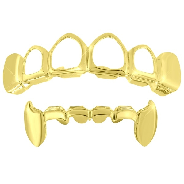 2 Grillz Set Gold Finish Open Face Tops Vampire Design Bottoms