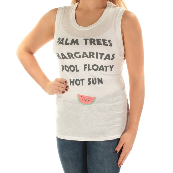 JUNK FOOD Womens Ivory Palm Trees Sleeveless Scoop Neck Top Size: S