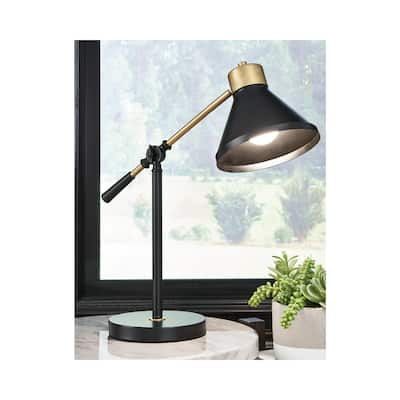 "Garville Black/Gold Finish Metal Desk Lamp - 19""W x 7""D x 19""H"